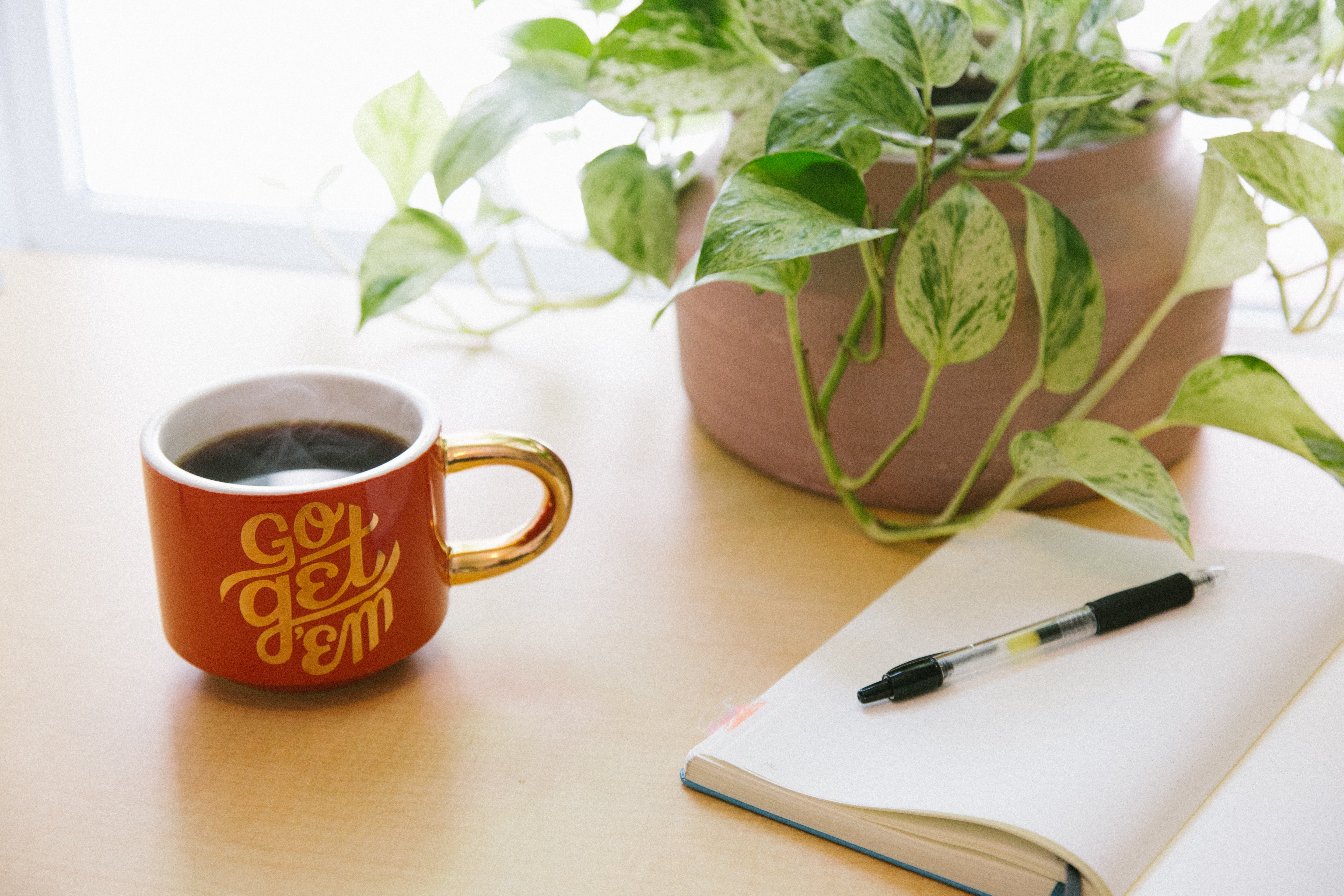 "Red coffee mug that says ""go get 'em"" beside a potted plant and notebook with pen."