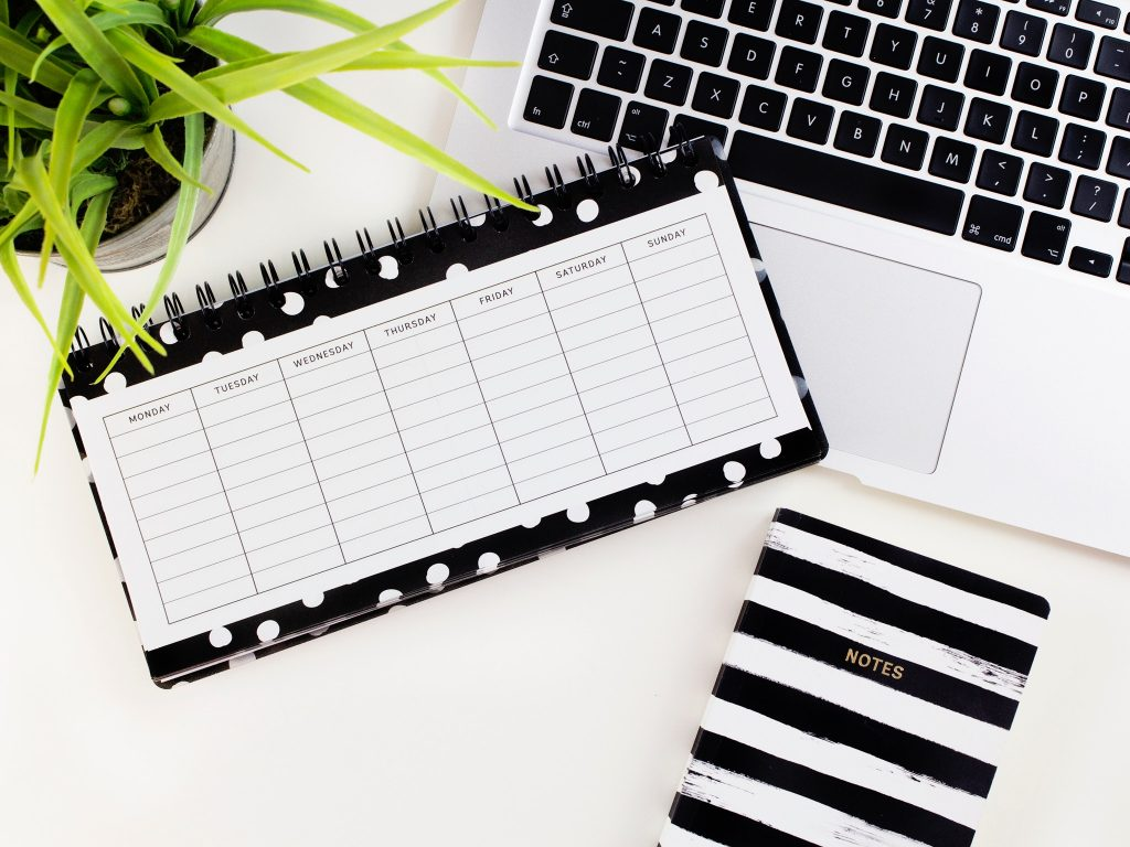 Spiral bound weekly planner with silver MacBook and black and white notebook and a plant.